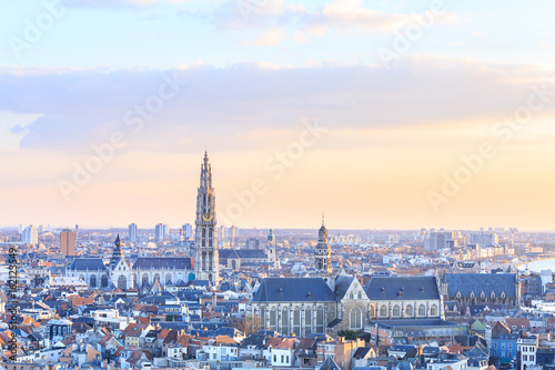 Staande foto Antwerpen View over Antwerp with cathedral of our lady taken