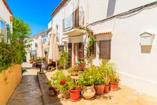 Flower Pots In Narrow Street With Traditional Houses In Sant Joan De Labritja Village, Ibiza Island, Spain