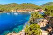 Coastal path in Cala Salada bay, Ibiza island, Spain