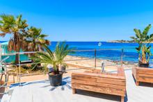 Benches On Coastal Promenade In San Antonio Town On Sunny Summer Day, Ibiza Island, Spain
