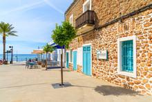 Restaurants And Bars On Coastal Promenade In Santa Eularia Town, Ibiza Island, Spain.