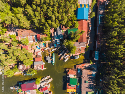 Staande foto New York TAXI Aerial view to the boat station in lagoon Moored boats and yachts