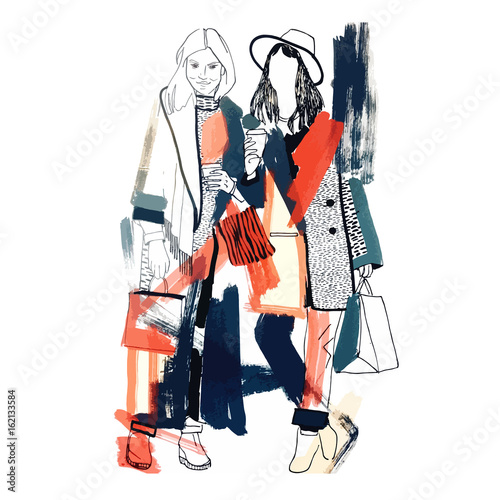 Fashion models. Sketch. Handdrawn Fashion illustration.