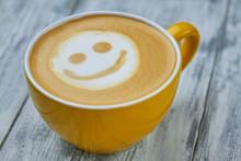 Smiley Face Latte Art. Yellow ...