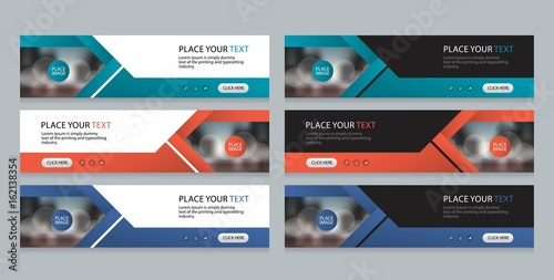 Photo  flat vector set abstract corporate business horizontal banner design template, a