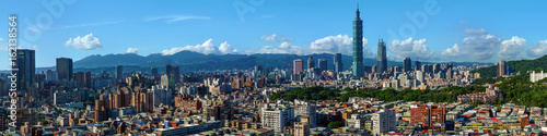 Photo  Wide panorama of the center of Taipei City, capital of the country of Taiwan