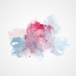 Watercolor Splash with gradient effect. Bright colorful grunge blob. Fashion, beauty, posters and banners graphic design. Red, blue colors.