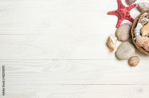 Seashells and starfish lying on white wooden boards