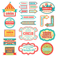 Circus Vintage Signboard Label...