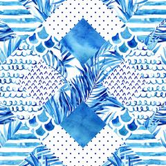 Fototapeta Abstract textured geometric seamless pattern