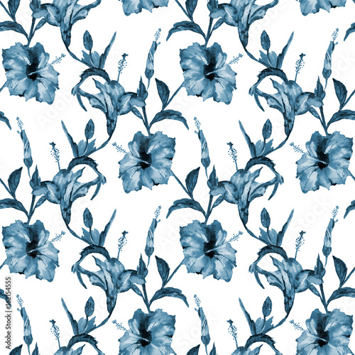 Seamless Floral Pattern Red Tropical Hibiscus Flowers Hand Painted