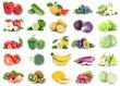 canvas print picture - Obst und Gemüse Früchte Apfel Tomaten Salat Erdbeeren Farben frische Collage Freisteller freigestellt isoliert