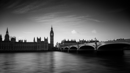 Wide angle long exposure shot of the Westminster Palace and Big Ben in London, England, UK rendered in black and white