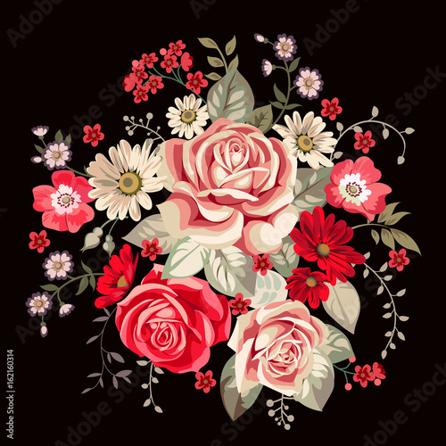 Bouquet with pale roses and red flowers in vintage style © Maria