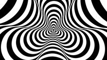 Optical, Visual Illusion, Entrance To The Tunnel. Concentric Oncoming Abstract Monochrome Pattern - Spinner. Seamless Looping Video. Pattern Spinner, Single Density, Single Rotational Speed
