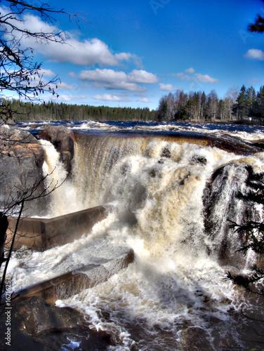 In de dag Noord Europa Jockfall, waterfall in the north of Sweden