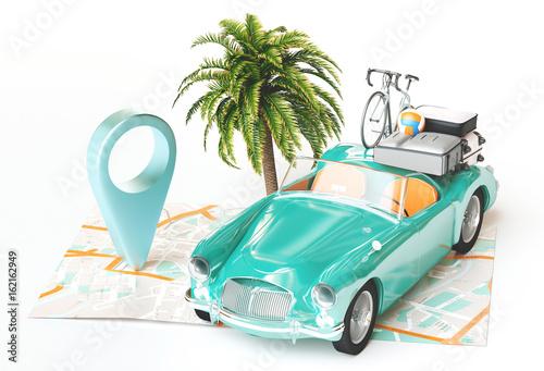 Vacanze, carta geografica con automobile, relax Billede på lærred
