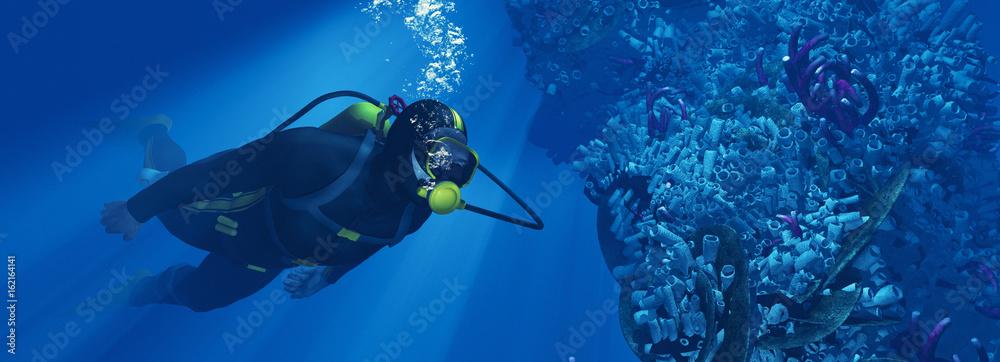 Fototapeta Silhouette of young man scuba diver