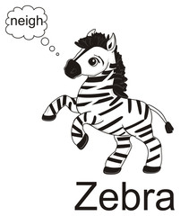 Fototapeta na wymiar Horse, animal, cartoon, stallion, hooves, neigh, toy, Zebra, zoo, stripes, striped, black, words, say, talking, callout