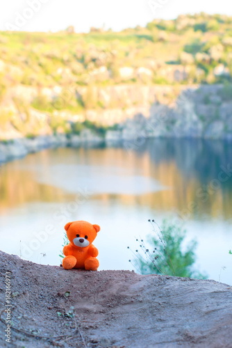 Photo  Pink teddy bear over the cliff in the setting sun.