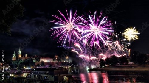 Castle Wawel with fireworks, Krakow in Poland, in Europe ( Kraków , Cracow , new year , eve )