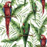 Akwarela bezszwowe wzór z papugami, liści palm bananowych i hibiskusa. Ręcznie malowane czerwono-zielona ara, gałązka palmowa i kwiaty na białym tle. Kwiatowy nadruk z tropikalnym ptakiem - 162170375