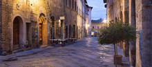 Morning Twilight On The Alone Street In Tuscany