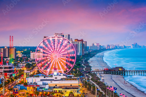 Photo sur Toile Attraction parc Myrtle Beach, South Carolina, USA Skyline