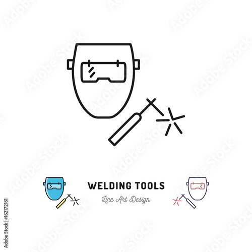 Welding Tools Icon Welding Machine And Welder Mask Vector Thin Line Art Symbol Buy This Stock Vector And Explore Similar Vectors At Adobe Stock Adobe Stock