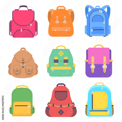 Photo Set bag school flat isolated on white background