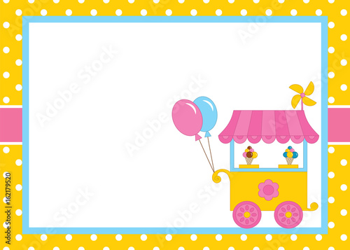 vector card template with ice cream kiosk on polka dot background