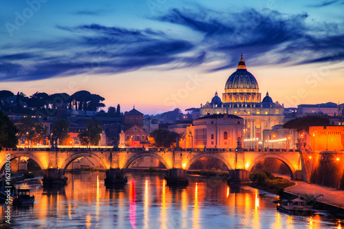 Rome View to bridge and Vatican City at sunset. Rome, Italy