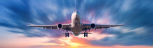 Airplane With Motion Blur Effect. Landscape With Passenger Airplane Is Flying In The Blue Sky With Blurred Clouds At Sunset. Travel Background. Passenger Airliner. Business Trip. Commercial Aircraft