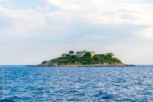 Staande foto Eiland Ancient fortress is located on the island of Mamula. Boka-Kotor Bay. Montenegro.
