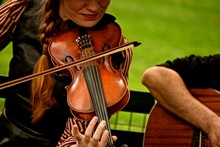 Musicians 3/ Violinist Performing In New Yorks Central Park.