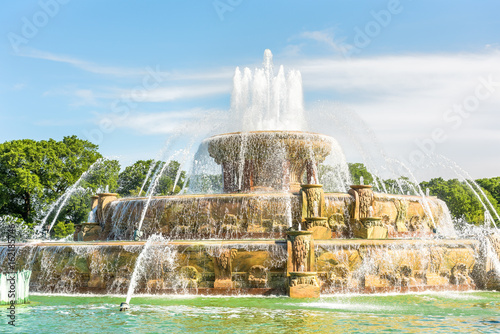 Buckingham Memorial Fountains in Grant Park in Illinois on a hot summer day in C Wallpaper Mural