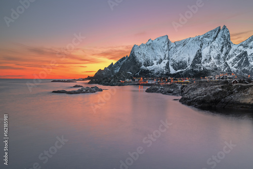 Plakát Snowcapped mountains at sunset, Lofoten, Flakstad, Nordland, Norway