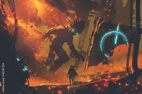Foto op Aluminium Grandfailure sci-fi concept of man looking at giant robot with burning city on background, digital art style, illustration painting