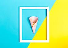 Ice Cream Cone On A Bright Split Color Background