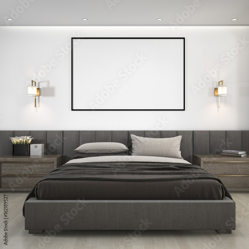 Foto op Aluminium Wand 3d rendering luxury modern bedroom suite in hotel with mock up frame