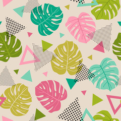 Fototapeta Florystyczny Colorful tropical leaf and triangle seamless pattern background