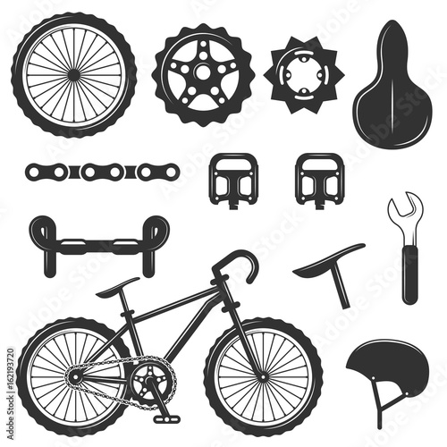 Vector Set Of Bicycle Parts Isolated Icons Black And White Bicycle