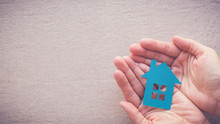 Hands Holding Paper House, Hom...