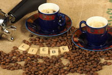 Coffee Beans, Two Ornate Cups ...