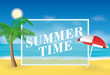 Summer time background. Palm tree and sun umbrella on the beach. Vector illustration for banners and promotions.