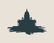 Silhouette Of The Saint Isaac's Cathedral In Saint Petersburg Russia. Modern Minimalist Icon On Grunge Brush
