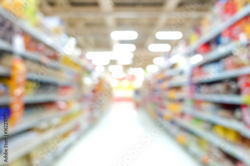 Photo Blur image of aisle in supermarket