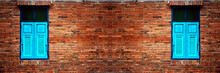 Brick Wall With Brick Filled Window - Old Weathered Brick Wall With Window - Crack Brick Wall Texture Background - Interior Or Exterior Brick Wall Building Decoration Texture Background Panoramic View