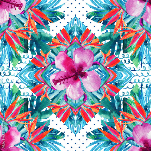 Abstract textured geometric and floral seamless pattern - 162217706