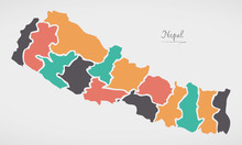 Nepal Map With States And Mode...